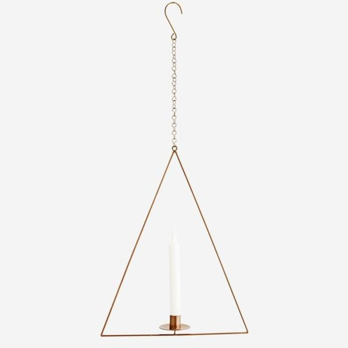 Triangular Hanging Brass Candle Holder