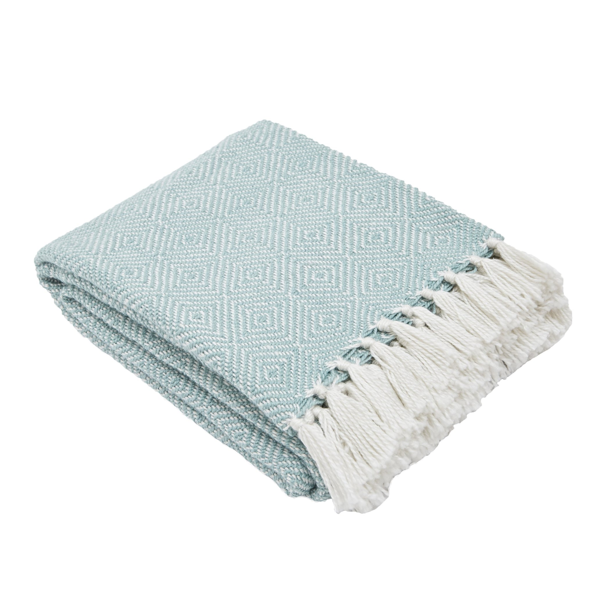 Weaver Green Diamond Blanket Throw Teal