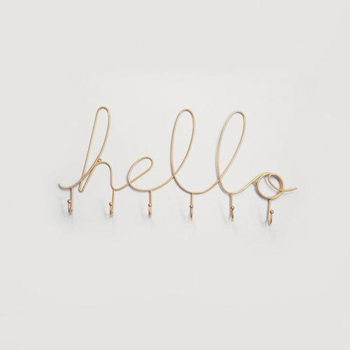 Hello Gold Wire Hanger