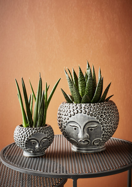 Small Grey Planter With Face