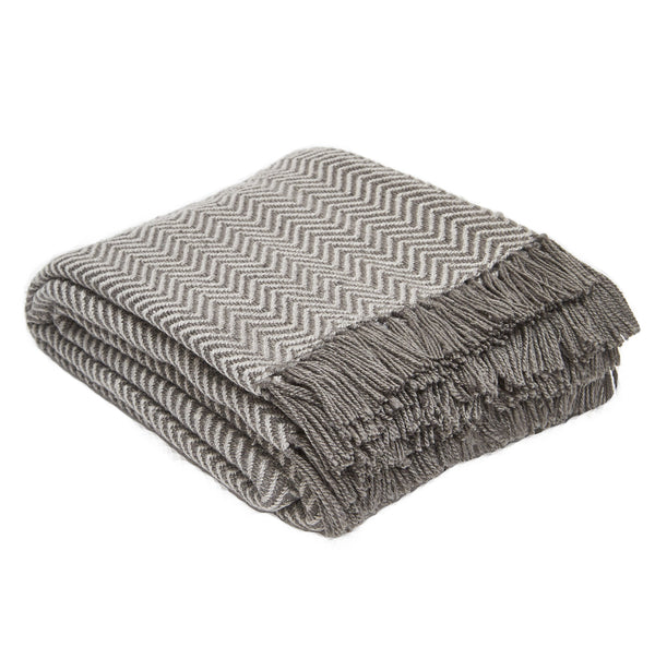 Weaver Green Herringbone Blanket Throw Tabby