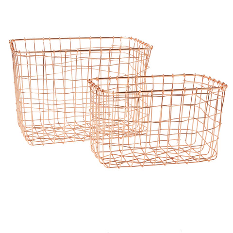 Copper Wire Baskets - set of 2