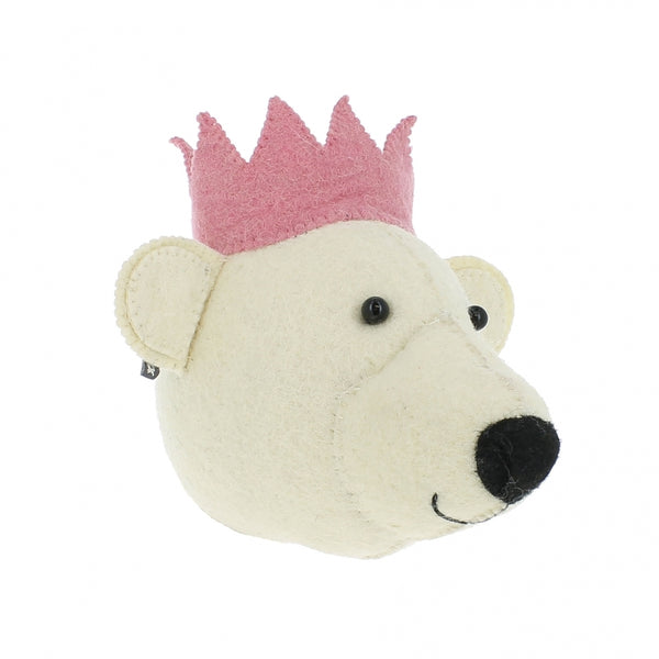 Mini Decorative Animal Head - White Party Bear with Crown