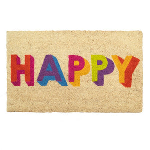 Multicoloured Happy Door Mat