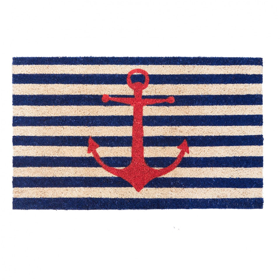 Nautical Stripe Anchor Door Mat