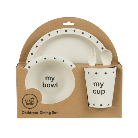 'My' Black Star Toddler Bamboo Dinner Set