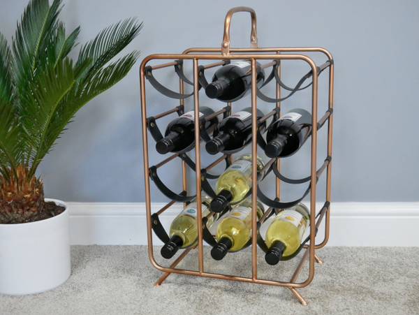 Floor Standing Wine Rack Copper