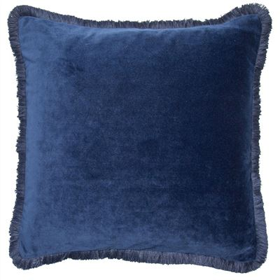 Velvet Fringe Cushion - Navy Blue