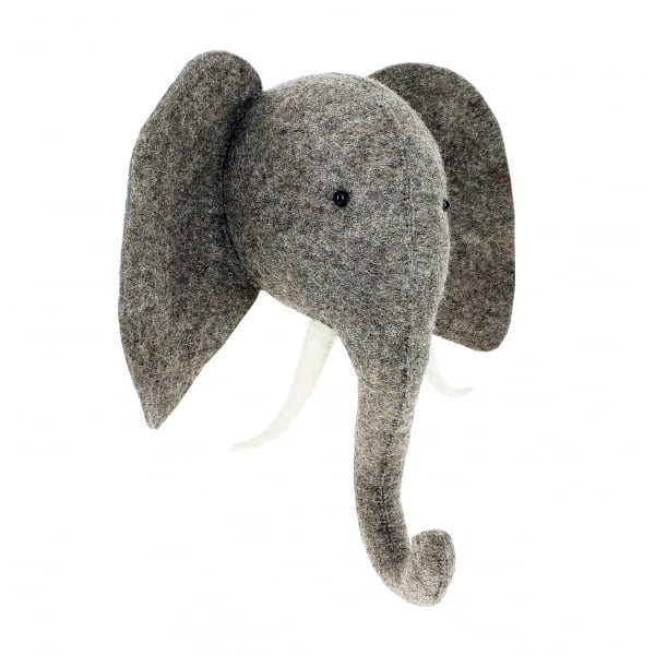 Decorative Felt Animal Head - Grey Elephant