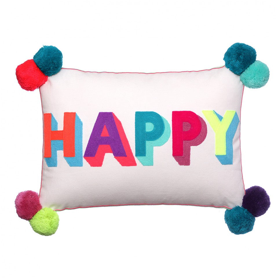 Happy Cushion With Pom Poms