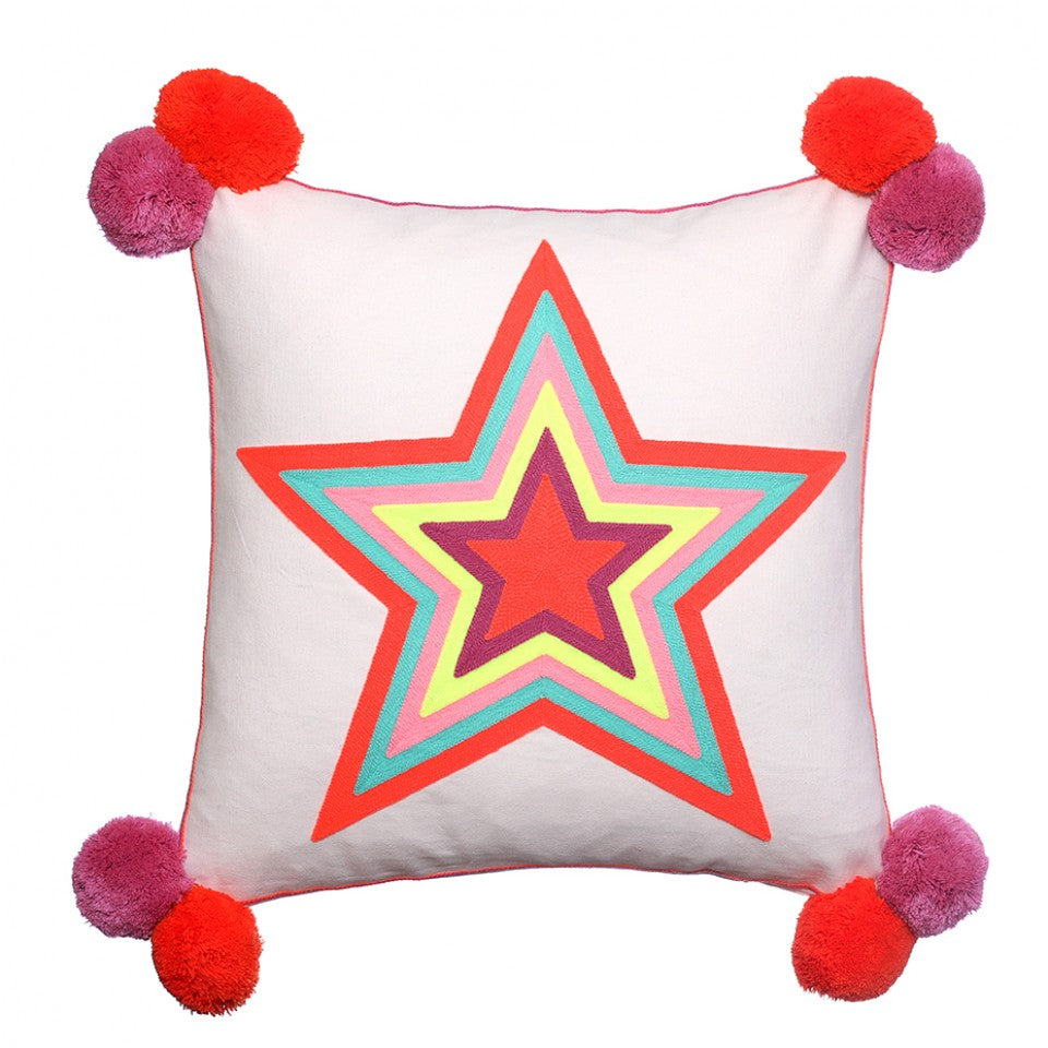 Star Embroidered Cushion With Pom Poms