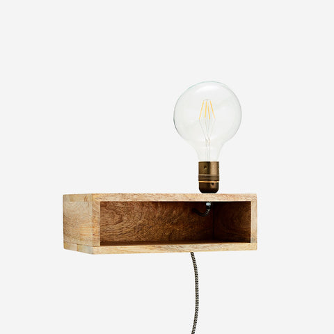 Wooden wall lamp with shelf