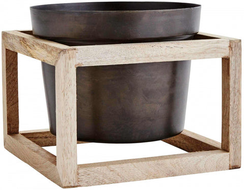 Black Iron Flower Pot with Wooden Square Stand