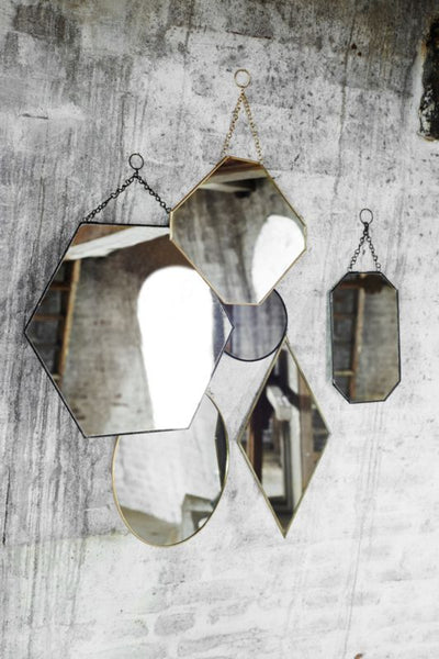 Brass Hexagonal Hanging Mirror