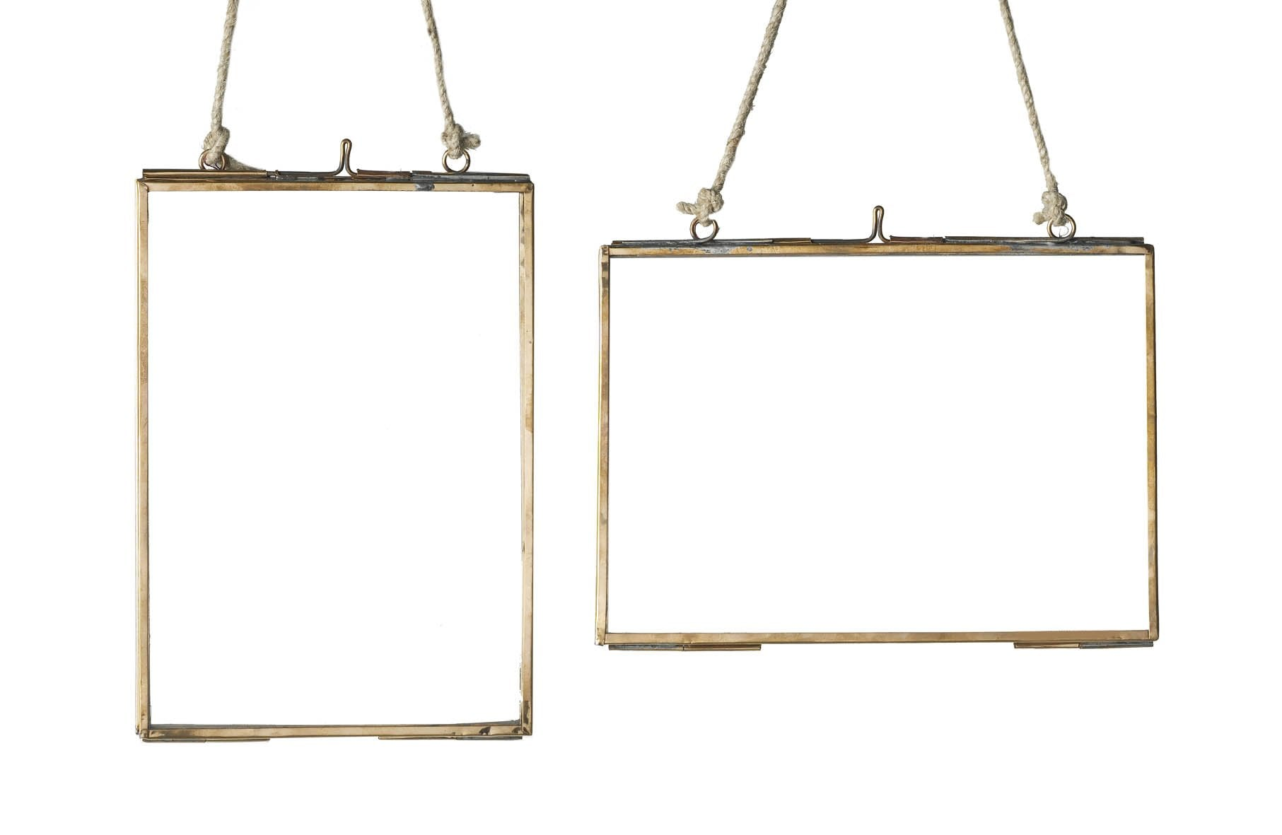 Brass Hanging Glass Frame - Landscape