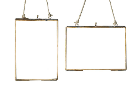 Brass Hanging Glass Frame - Portrait
