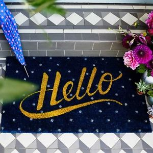 Blue Spotty Hello Door Mat