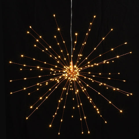 Mains Powered Large Hanging Starburst LED Light Decoration -Copper