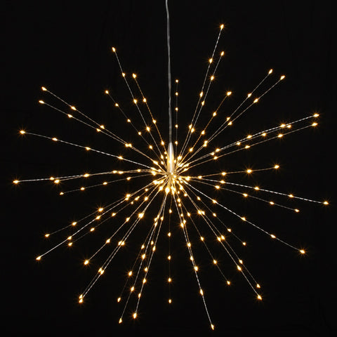 Mains Powered Large Hanging Starburst LED Light Decoration - Silver