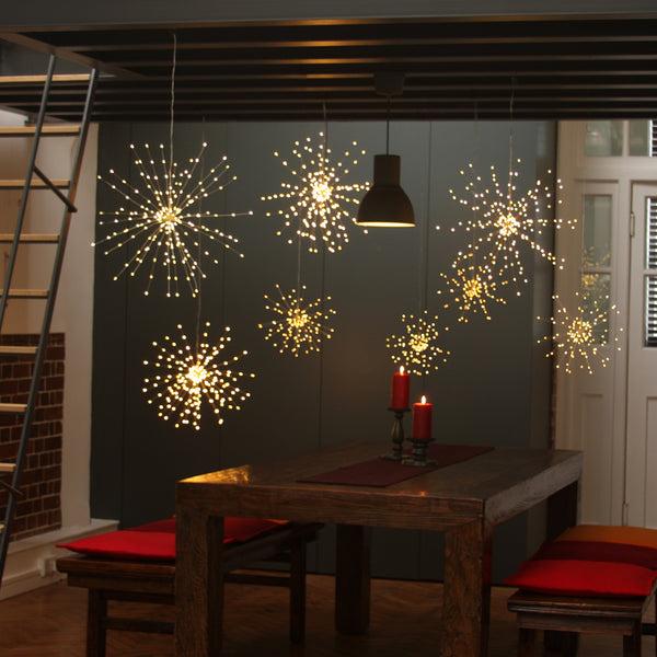 Battery Powered Large Hanging Starburst LED Light Decoration - Silver