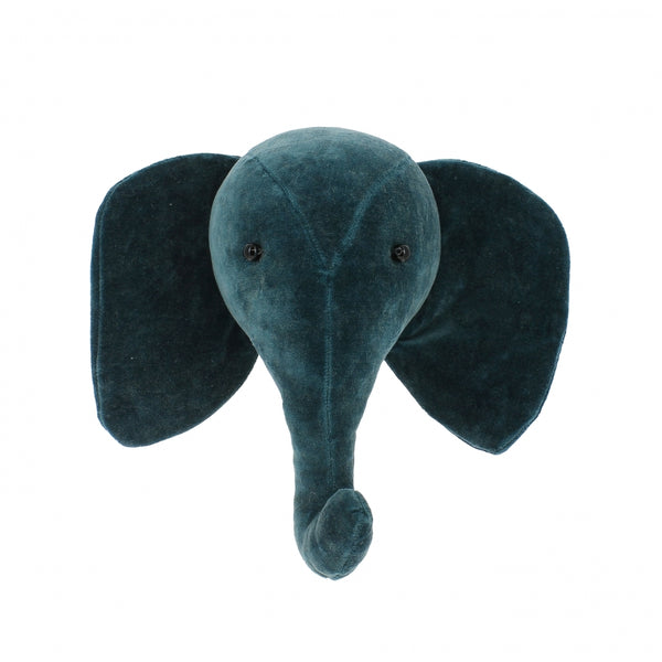 Mini Decorative Animal Head - Teal Velvet Elephant