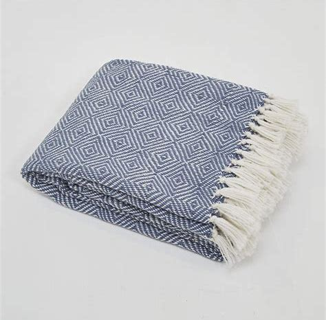 Weaver Green Diamond Blanket Throw Navy