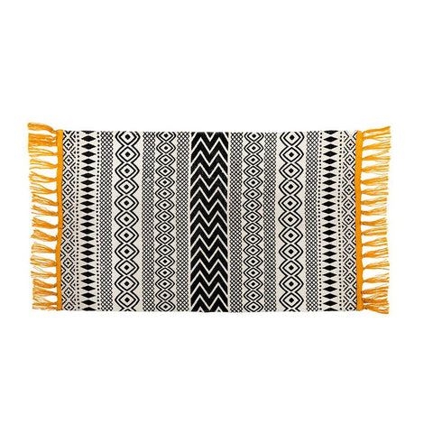 Scandi Monochrome Geometric Rug  With Yellow Tassels