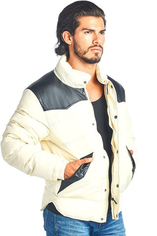 MEN'S WHITE PUFFY JACKET