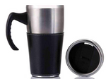 FAUX LEATHER AND STAINLESS TRAVEL MUG