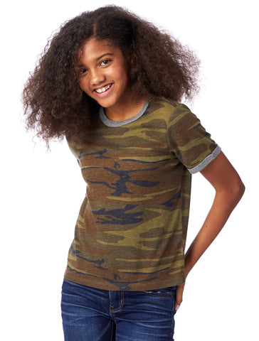 ECO-JERSEY PRINTED RINGER YOUTH T-SHIRT