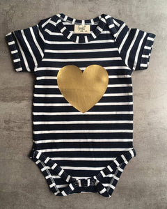 Navy and gold Babygrow
