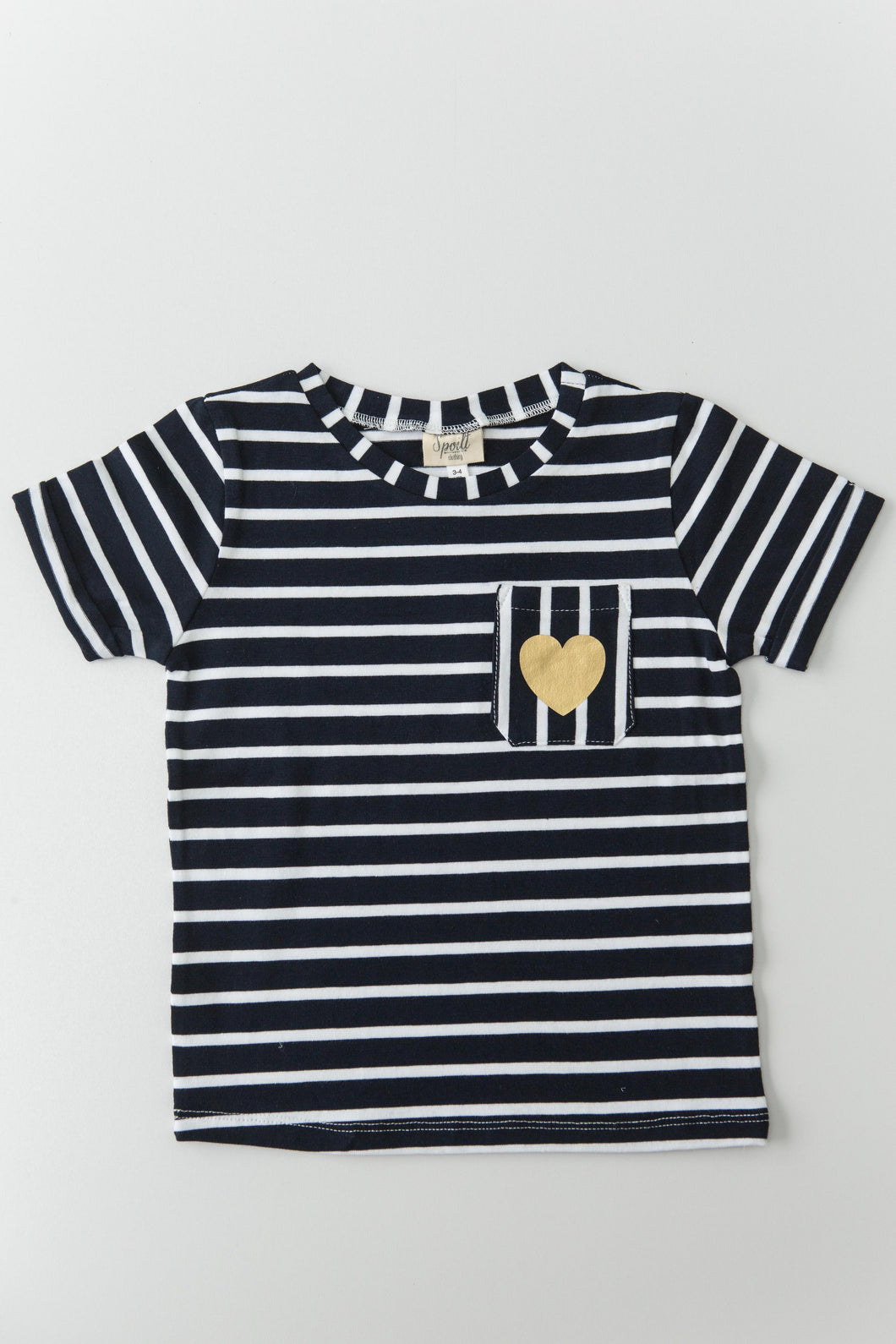 T-shirts - navy stripe with gold heart