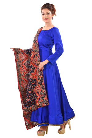 Designer Salwar Kameez featured in crepe and gearogette in a combination of Navy Blue and Royal Blue