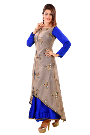 Designer Salwar Kameez featured in Light brown and Royal Blue materials made of Crepe and Chanderi