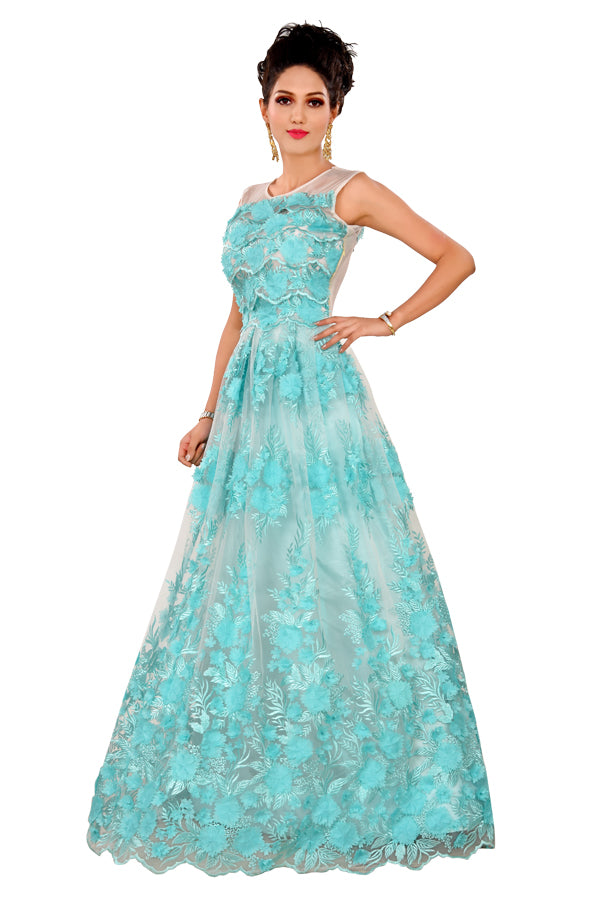 Sea Green and White Evening gown featured in Net