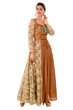 Cream and Copper Brown Evening Gown featured in Net and Crepe