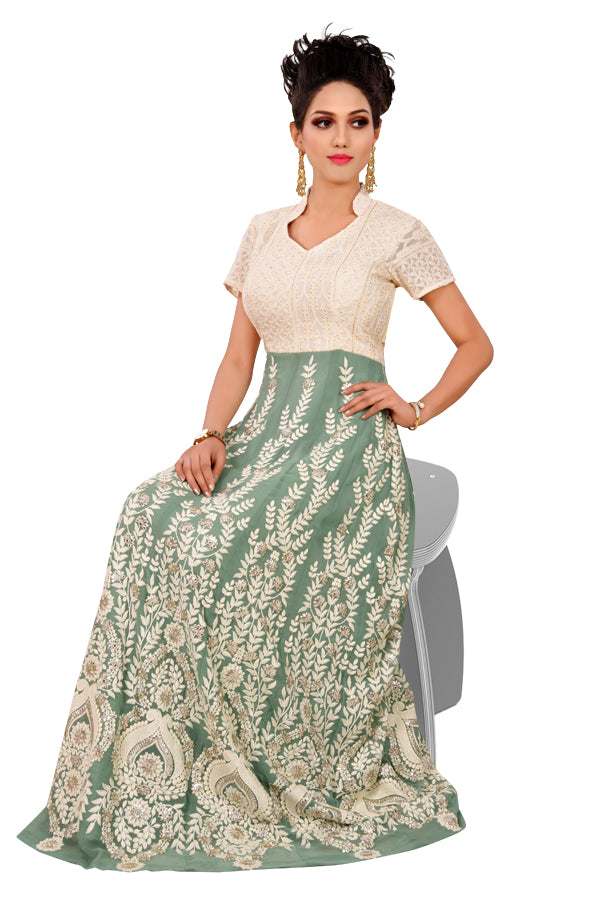 Light Green and White Desginer Salwar Kameez featured in Georgette