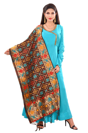 Brown and Blue Salwar Kameez Featured in Crepe