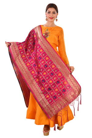 Magenta and Yellow Salwar Kameez Featured in Silk