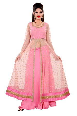 Pink Desginer Salwar Kameez Featured in Net and Crepe