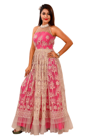 Pink and white Indo-western Style Gown