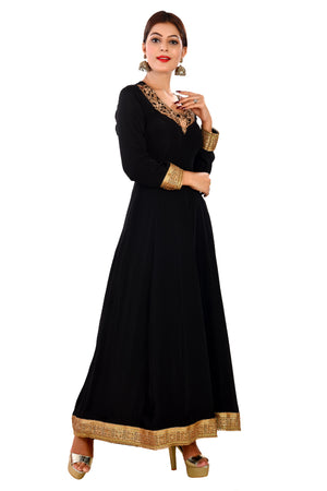 Black Designer Salwar Kameez Featured in a rare combination of Net and Crepe