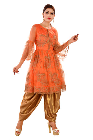 Golden and Orange Designer Salwar Kameez Featured in Net and Georgette