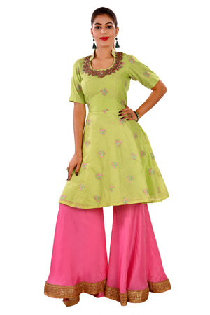 Light Green and Pink Sharara Style Salwar Kameez featured in Chanderi and Crepe