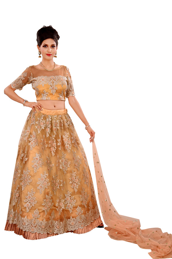 Pink and Peach Designer Lehenga featured in Net with Floral Motifs