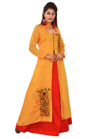 Yellow and Red Designer Salwar Kameez