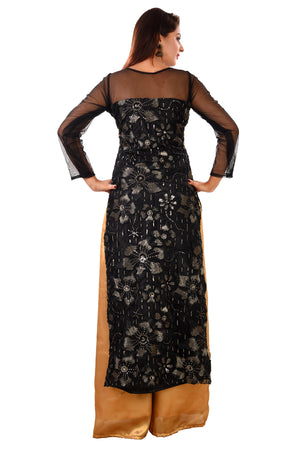 Black and Golden Straight Cut Style Salwar Kameez Featured in Georgette and Net