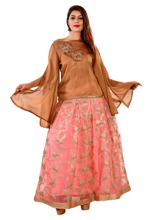 Pink and Copper Brown Crop top Style Lehenga Featured in tissue and a silk Chiffon