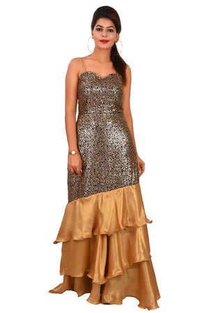 Black and Golden Evening Style Gown