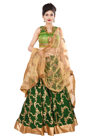 Designer Lehenga Featured in Different Shades of Green Crepe and Net